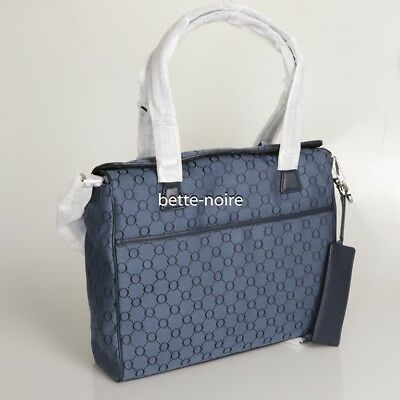 OROTON BABY BAG SIGNATURE O TOTE NAVY Blue Nappy Travel Leather RRP$495 BNWT