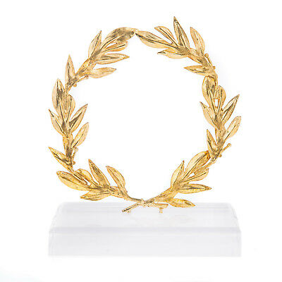 Olive Wreath - Handmade Bronze Ornament with Golden Patina - 14cm (5.5'')