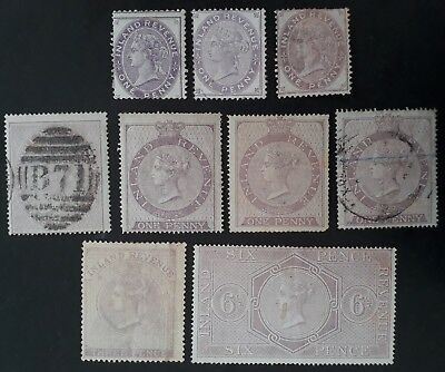 RARE 1860- Great Britain lot of 9 Qn Victoria Inland Revenue stamps Mint & Used