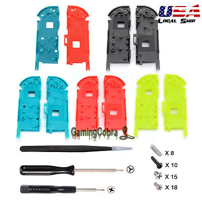 Left + Right Middle Shell Case w/ Screwdrivers Screws Set for Nintendo Switch NS