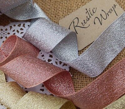 1m Lame Ribbon Gold, Rose & Silver Sparkly Glitter Xmas Weddings Gift Wrapping