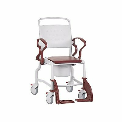 German Mobile Shower Commode Chair, Shower Transfer Wheelchair - RED