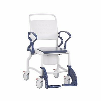German Mobile Shower Commode Chair - Rebotec Wheelchair BLUE - Made in Germany