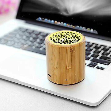 Natural Bamboo Portable Mini Bluetooth Speaker Wireless Hands-free Stereo Sound