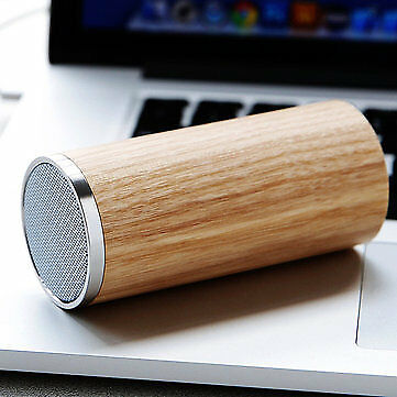 Oak Wooden Mini Portable Bass Hands-free Bluetooth Speaker With Mic 3D Stereo S