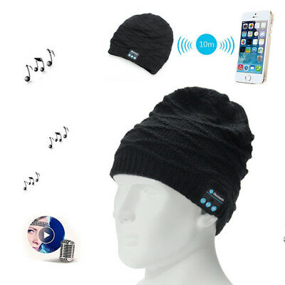 Wireless Bluetooth Knitted Hat Headphones Built-in Stereo Music Speaker for Mob
