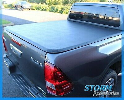 TOYOTA HILUX 2016 ON Double Cab Tri-Folding Fold Up Tonneau Cover - Black