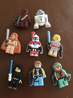 8 X Star Wars Pvc Shoe Charms, Wristbands,stocking Fillers