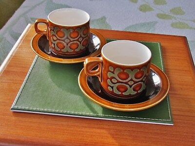 """Hornsea """" Bronte"""" pair of cups and saucers."""