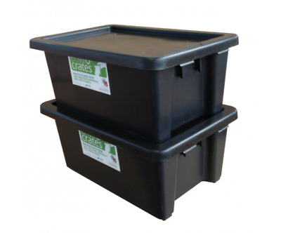 Plastic Storage Tub Stack Nest 52L Industrial tubs very strong Black