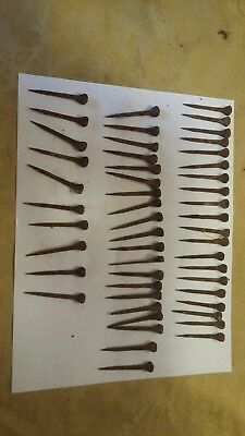 """Lot of 50 2"""" Old Vintage Primitive Square Nails  rosehead rusty patina."""