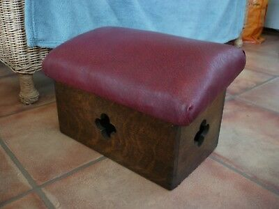 VINTAGE original CHURCH PRAYER KNEELER STOOL oak GOTHIC