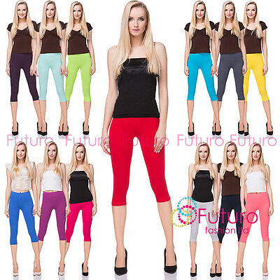 Cotton Yoga Gym Cropped Leggings 3/4 Summer Pants All Colours & Sizes  MIDL66