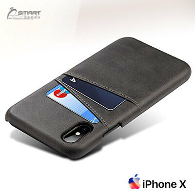 PU Leather Card Holder Wallet Back Case Cover For iPhone X / iPhone 10 / 8 Plus