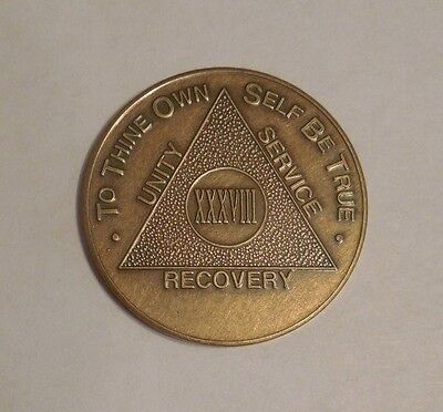 aa alcoholics anonymous bronze 38 year recovery sobriety coin token