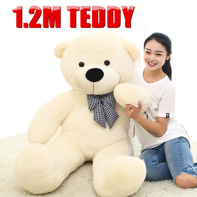 1.2M White Teddy Bear Giant Huge Cuddly Stuffed Soft Plush Animal Doll Toy Gift