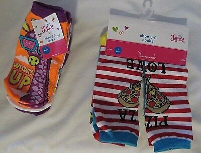 New Justice Girls Pack Of 3 Pairs Ankle Socks Sizes S/m 13-5/m/l 5-9 Shoe Pick1