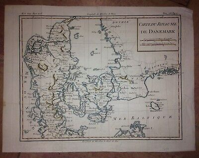 KINGDOM OF DENMARK 1787 XVIIIe CENTURY  ANTIQUE COPPER ENGRAVED MAP