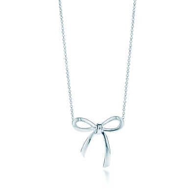 Tiffany & Co Sterling Silver Bow Ribbon Pendant Necklace Box & Pouch Schleife