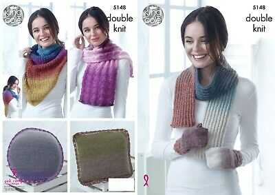 5f7768fa212 Ladies Scarf Wrap Mittens   Cushions Dk Knitting Pattern King Cole 5148