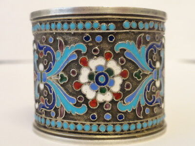 Antique Russian silver 84 cloisonne enamel napkin ring by Nikolay Zverev
