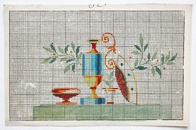 Antique 19th c BERLIN WOOLWORK Pattern neoclassical Embroidery Chart Needlepoint