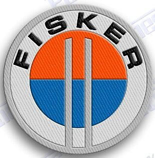 "FISKER AUTO CAR  SPORTS iron on embroiderED patch 2"" X 2""  usa sweden  racing"