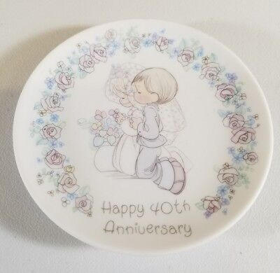 Precious Moments Small Porcelain Plate Happy 40th Anniversary Bride And Groom