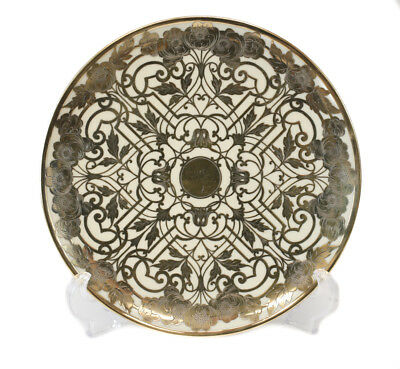 Reed & Barton Porcelain & Gilt Sterling Silver Overlay Footed Platter, c. 1910