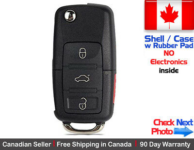 1x New Replacement Remote Key Fob Flip Case 3 Button For Volkswagen - Shell Only