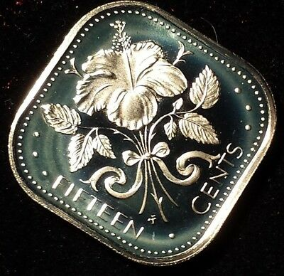 1974 Bahamas 15 Cent Beautiful ltd. mintage proof coin Hibiscus Elizabeth nice