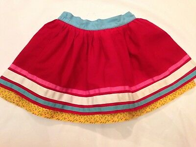 Jools Oliver / Little Bird, Red, Striped Skirt With Distsy Print Lining 18-24Mth