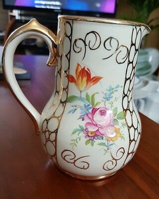 SADLER ART DECO jug FLORAL AND GILT vintage