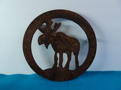 Old Vintage Copper MOOSE Silhouette Trivet Hearth Stove Decor Great Patina!