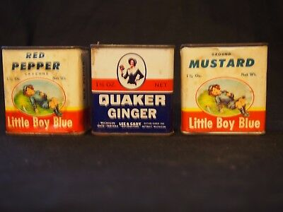 Old  Quaker and Little Boy Blue spice tins