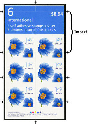Canada  #2134a var3  $1.49 Poppy BOOKLET of 6 with DIE CUTTING SHIFTED DOWN 15mm