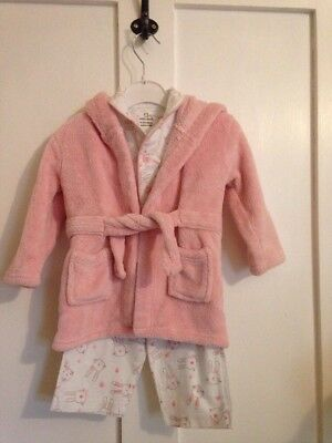 Baby Girl Pyjamas And Dressing Gown 6-12 M