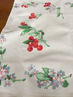 Vintage Tablecloth RETRO Fabric White Cherries 36 x 30