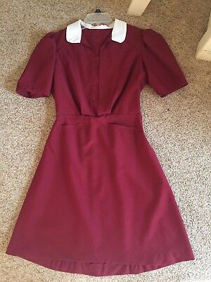 Vintage Reproduction 1940s dress Red with White Peter Pan Collar Puffed Sleeves