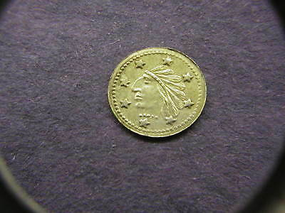 1849 California Gold 8 Star Big Nose Indian Round 1/4 Token/Coin: Wreath on back