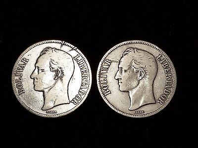 1926 Venezuela 5 Bolivares Silver Circulated coins - Lot of 2 (LN584)