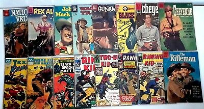 Vintage Lot: 16 WESTERN - 9 DELL, 5 MARVEL and 2 MODERN Comic 1950s - 70s