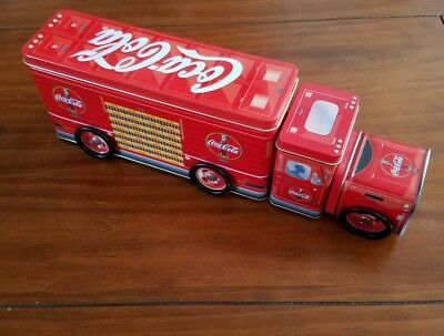 """Coca Cola Tin Metal Box  Delivery Truck Collectible 13"""" 3 Compartments Clean"""