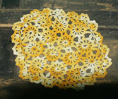 """Vintage Crochet Doily  Variegated Yellow 8 1/2"""" x 7"""""""