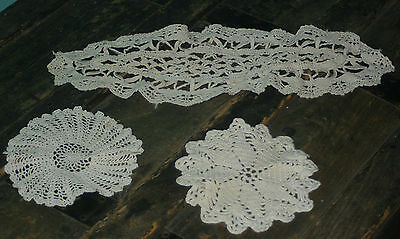 """Lot of 3 Vintage Crochet Doilies Cream 2 - 5"""" round  1 - Oval 15"""" x 7"""""""