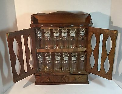 Classic vintage wooden spice rack / curio cabinet. Never used! Labels, 12 jars.