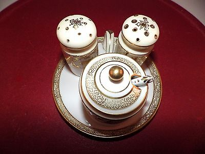 Vintage 6 Piece Noritake Gold Painted Trim Condiment Set with Tray
