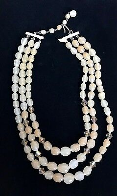 """Vintage Triple Strand Cream & AB Glass Beaded Necklace SIGNED JAPAN 17"""" M214"""