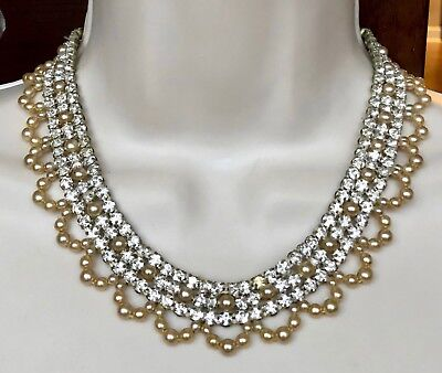 """Vintage Silver Tone Beaded Rhinestone Necklace Stunning! 17"""" D066"""