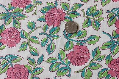 "Genuine Vintage Tossed Pink Rose Floral Cotton Feedsack Fabric c1938~15""LX37""W"